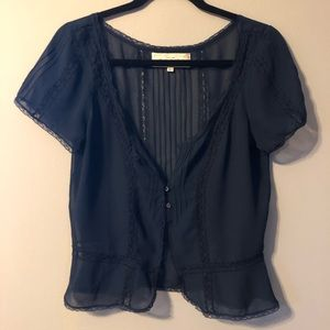 NWOT Sheer Blouse with Lace Accents Size S